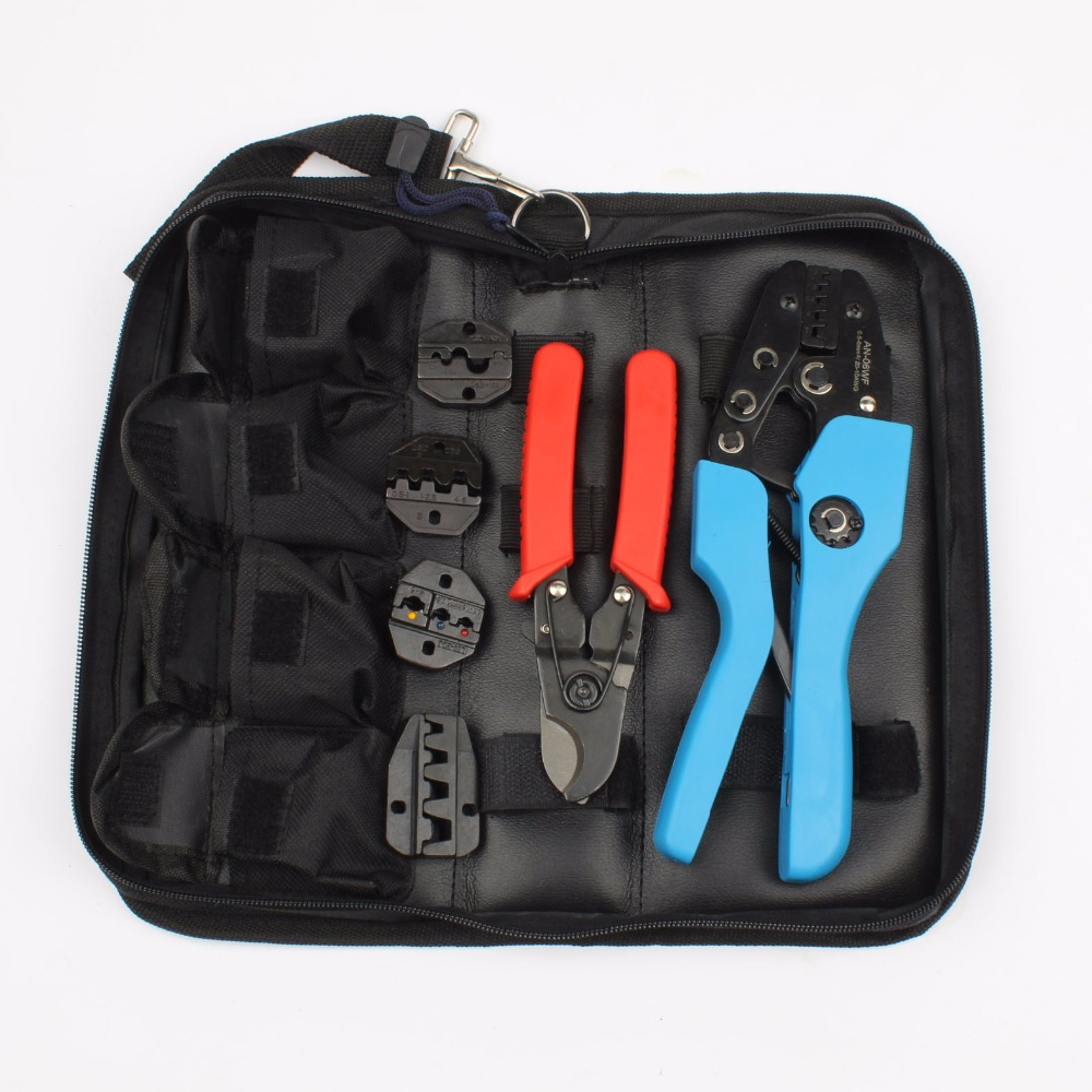 New 4 In 1 Wire Crimper Tools Kit Multitool Engineering Ratchet Terminal Crimping Plier Crimping tool kit AN-K06WF Tool set multifunction ratchet s wire crimpers terminal module crimping plier press plier press pinchers crimping too l made in taiwan