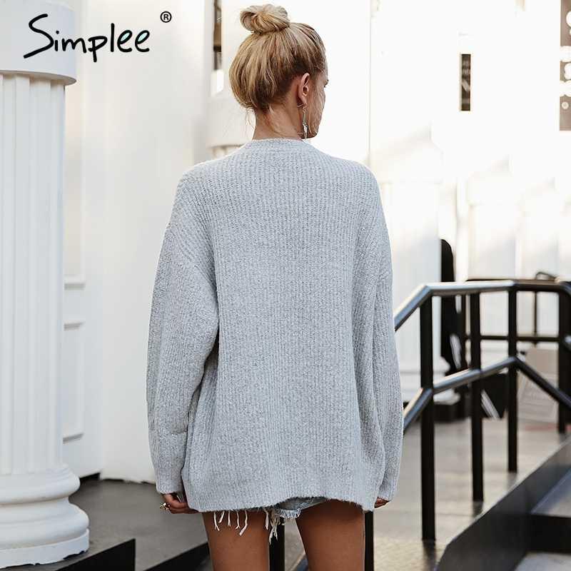 Женский серый свитер Simplee с v-образным вырезом, повседневный пуловер с длинными рукавами и пуговицей, верхний джемпер для осени и зимы