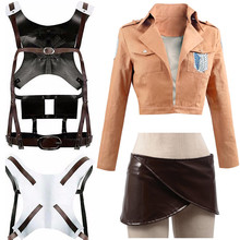 Anime Attack on Titan Cosplay Shingeki no Kyojin Jacket Recon Corps Leather Skirt Hookshot Belts Suspenders Ackerman Costume цены