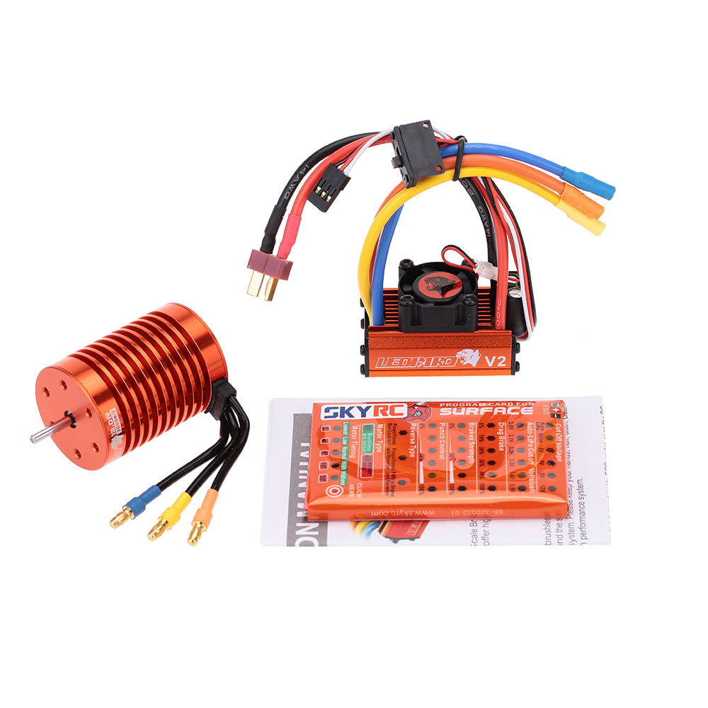 GOOLRC 13T 3000KV Brushless Motor 60A Brushless ESC with 5V 2A BEC Linear Mode + Program Card Electric Set for 1:10 RC Car Toy original goolrc s3650 3900kv sensorless brushless motor 60a brushless esc and program card combo set for 1 10 rc car truck