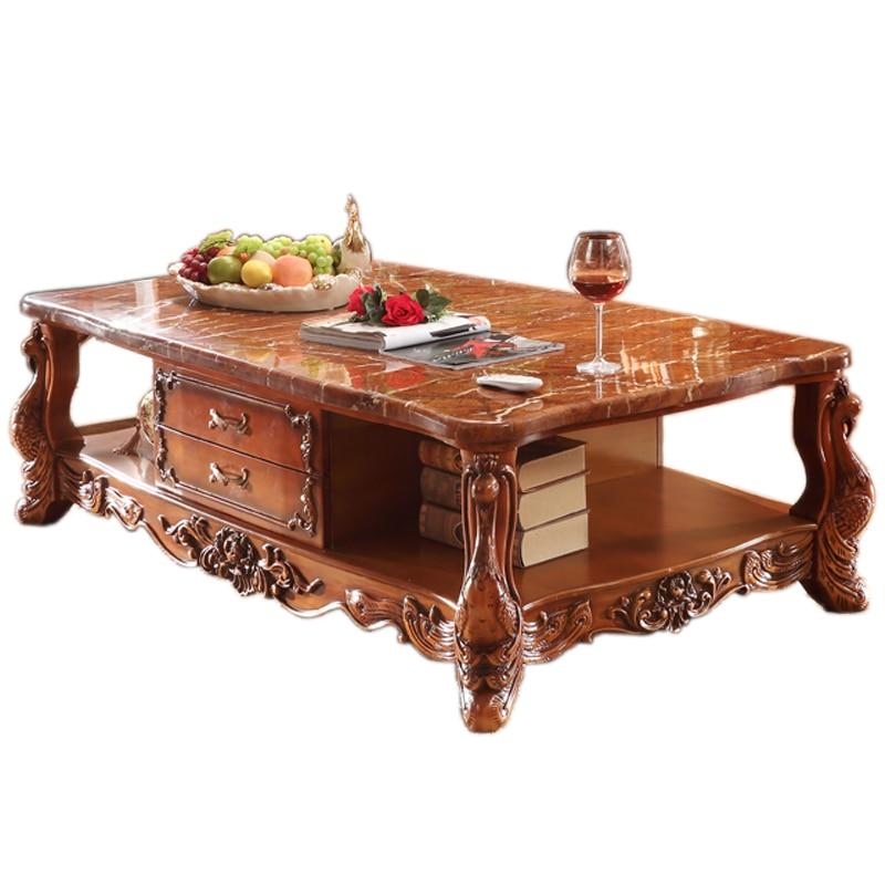 European Style Marble Tea Table, Solid Wood Carving Living Room Square Tea Table, American Tea TableEuropean Style Marble Tea Table, Solid Wood Carving Living Room Square Tea Table, American Tea Table