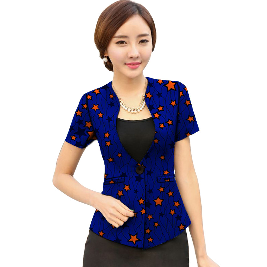 African fashion women blazers v-neck slim fit dashiki clothes for ladies blazer Ankara coat elegant short sleeve suit jacket