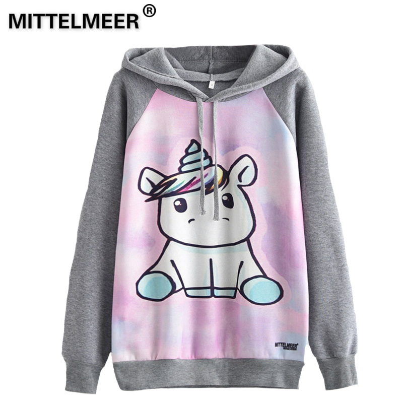 MITTELMEER 2018 Autumn winter Harajuku printed Hooded Sweatshirt printing cartoon Unicorn owl cat Hoodies girls women Christmas