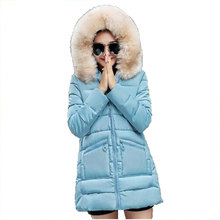 new 2016 Winter wadded jacket female medium-long slim Hooded outerwear large fur collar women cotton-padded parkas AE1774