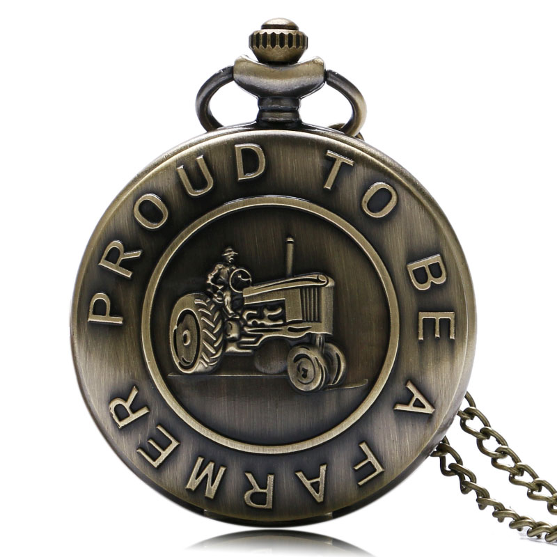 2017 New Arrive Retro ' Proud To Be A Farmer ' Pocket Watch Bronze Steampunk Quartz Fob Watches For Men Boy With Chain