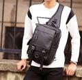 2017 nuevos hombres de cuero de la pu de viaje riding cross body mensajero sling back pack bolsa de pecho