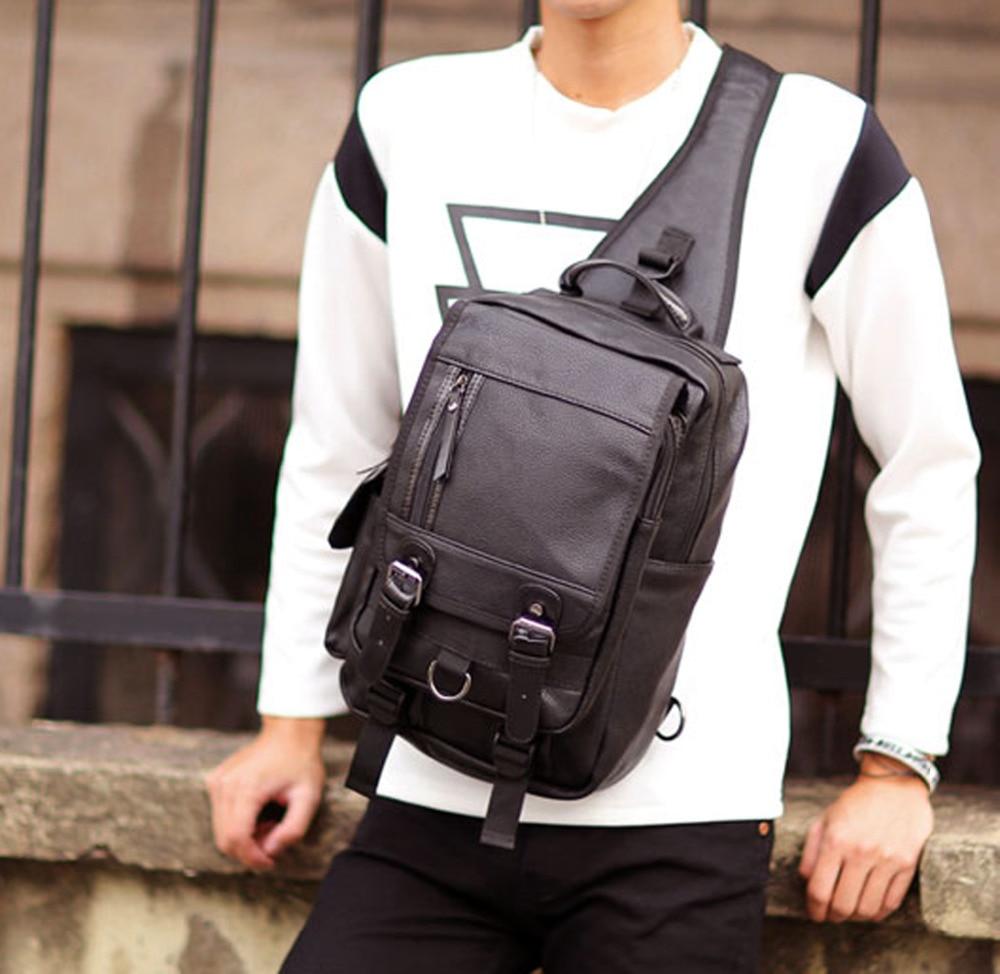 2018 New Men PU Leather Travel Riding Cross Body Messenger Shoulder Sling Back Pack Chest Bag стоимость