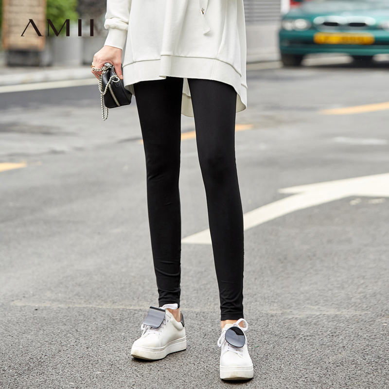 Amii Minimalist   Legging   Women 2019 New Solid Slim Skinny Patchwork Printed Causal Female Pants