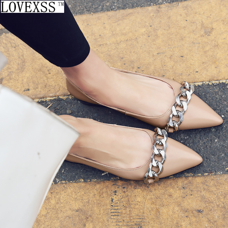 Chain Flat 2017 Spring Latest Fashion Casual Genuine Leather Woman Shoes Black Apricot Loafers Shallow Mouth China Chain Flat czrbt women loafers winter autumn genuine leather shallow mouth flat shoes woman fashion circle buckle solid color casual flats