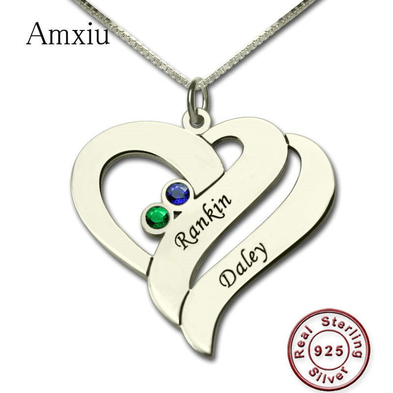 Amxiu 100% 925 Sterling Silver Necklace Jewelry Engrave Two Names Necklace Custom Birthstones Hearts Pendant Lovers Mother GiftsAmxiu 100% 925 Sterling Silver Necklace Jewelry Engrave Two Names Necklace Custom Birthstones Hearts Pendant Lovers Mother Gifts