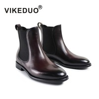 Vikeduo 2019 зима Для женщин сапоги Элитный бренд модная обувь ботинки из натуральной кожи для дам новые ручная щетка Цвет Челси