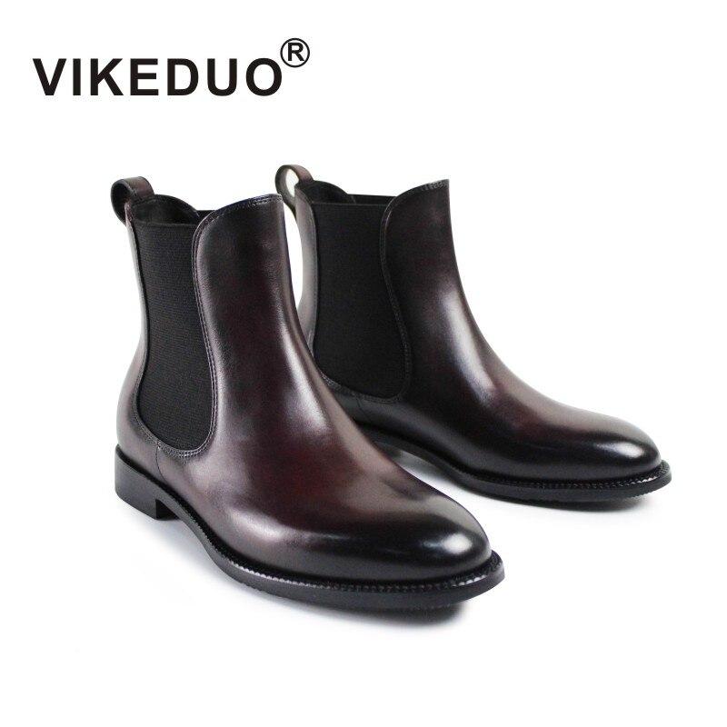 Vikeduo 2019 Hiver Femmes Bottes De Luxe Marque De Mode Chaussures En Cuir Véritable Bottes Pour Dames Date Manuel Brosse Couleur Chelsea