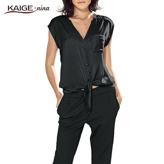 KaigeNina New Fashion Hot Sale Women Sleeveless Casual Chic Lady Tops V-Neck Chiffon Blouse 1069
