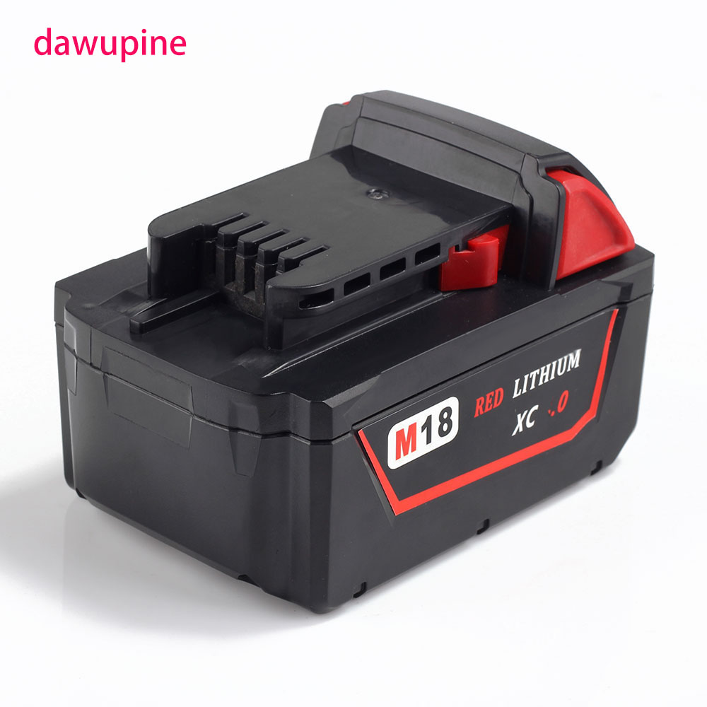 dawupine M18 18V 5000mAh Li-ion Battery For Milwaukee M18 48-11-1828 48-11-1840 18V 5A Electrical Drill lithium-ion Battery chic off the shoulder cut out striped dress for women
