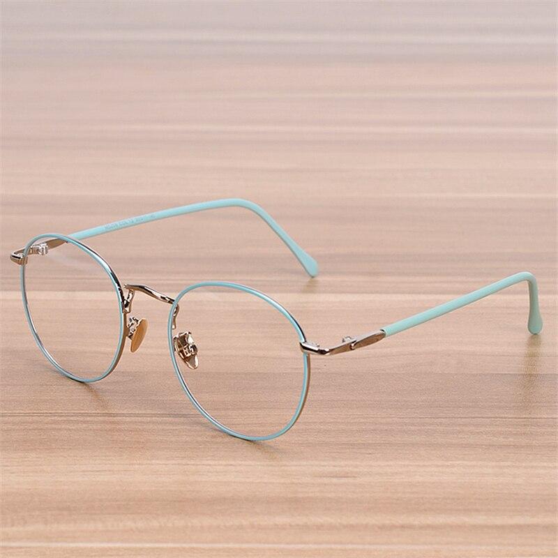 nossa brand glasses frame women men retro round metal eyeglasses frames students myopia spectacle frame blue