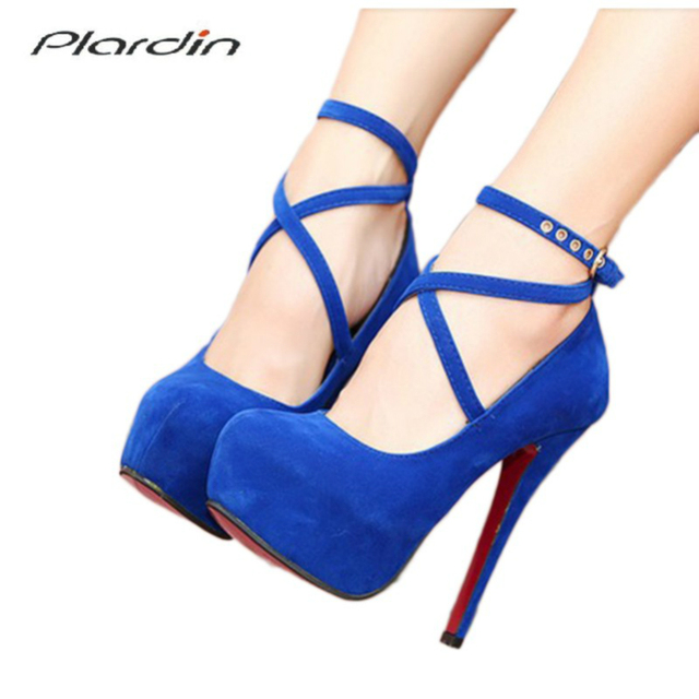 7378210ba Plardin Shoes Woman Pumps Cross-tied Ankle Strap Wedding Party Shoes  Platform Fashion Women Shoes High Heels Suede Ladies Shoes