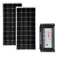 Solar KitPaniel 12V 100w 2 Pcs/Lot Waterproof Panel Charger Controller 12V/24V 20A Home System Yachts Boats