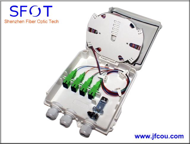 8 puertos FTTH Fibra óptica caja de terminales, con coletas SC y SC adaptadores, 4 unids/lote