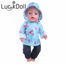 Blue Girl Pattern Set=Jacket+Hat+Pant Fit 18 Inch American&43 CM Baby Doll Clothes Accessories,Girl's Toys,Generation,Birthday