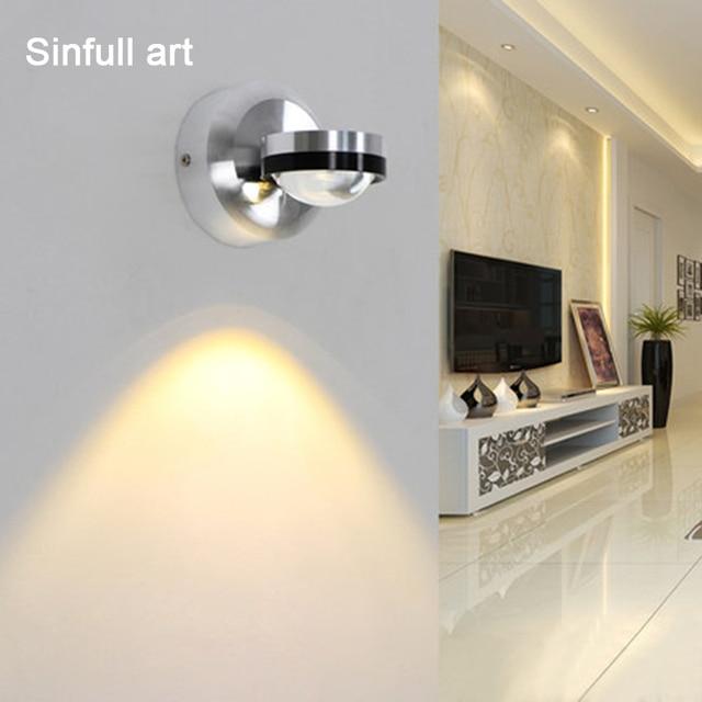 Cristal moderne Mur Led Lampe En Aluminium Chambre De Chevet Murale
