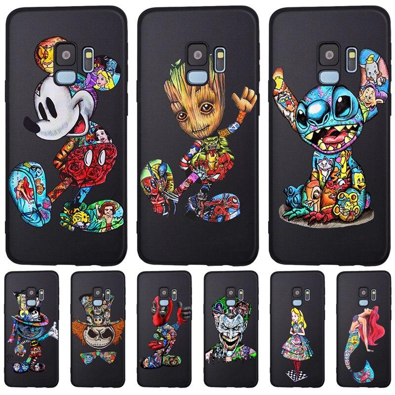 Mickey Groot Joker Stitch marvel For Samsung Galaxy S6 S7 Edge S8 S9 S10 Plus Lite Note 8 9 phone Case Cover Coque Etui Funda action figure pokemon