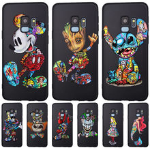 Groot Joker Stitch marvel para Samsung Galaxy S6 S7 borde S8 S9 S10 Plus Lite Nota 8 9 teléfono caso cubierta Coque estuche Funda deadpool(China)