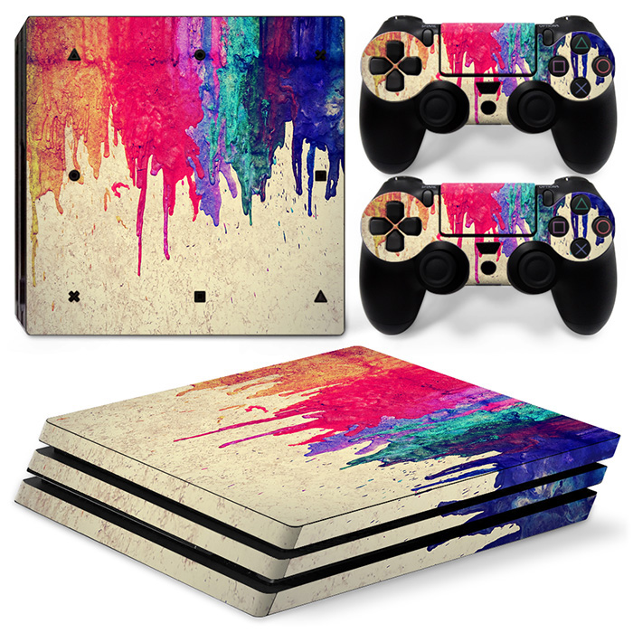 Multicolor Vinyl Skin For PS4 Pro Sticker Console+2 Controller Decal PCV Sticker For Sony Playstation 4 Pro Game Accessory