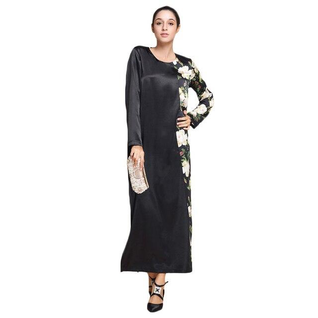 Black Abaya Clothes Floral Print Arabic Muslim Women Dress For