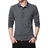 Plaid Stitching T Shirts 2018 Spring Casual Men Tees Collar Long Sleeve Men 95 Cotton T