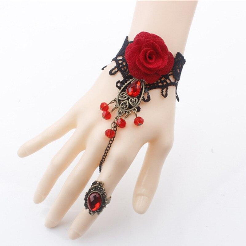 Adjustable Bracelet Steampunk Vampire Female Retro Black Gothic Lace Red