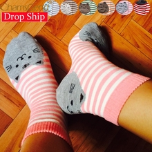 Chamsgend Newly Design Cute Cartoon Cat font b Socks b font Striped Pattern font b Women