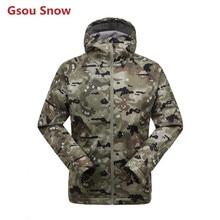 2017 Gsou Snow hiking fleece softshell jacket men outdoor waterproof jacket hoodie sportwear tracksuit sweatshirt veste homme
