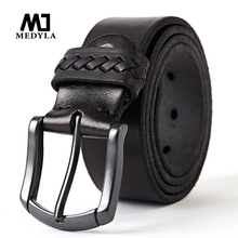 MEDYLA retro mens leather belt high quality original black pin buckle for men jeans casual pants accessories MD616