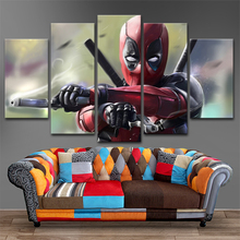 Canvas Painting 5 Pieces Deadpool Modular Picture Wall Decorative Framework Modern Artwork Printing Type Movie Poster