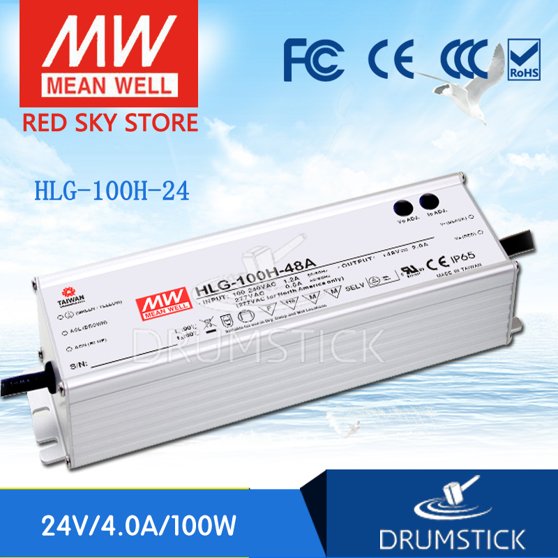 купить Hot sale MEAN WELL HLG-100H-24 24V 4A meanwell HLG-100H 24V 96W Single Output LED Driver Power Supply по цене 3229.88 рублей