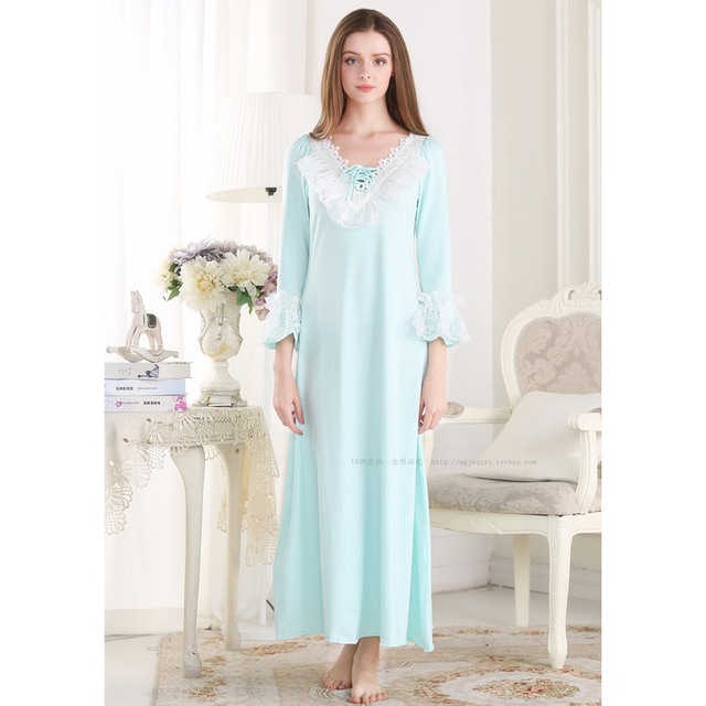 Free Shipping Princess Style Women Nightgowns Long-Sleeve Lace V-Neck Cotton Nightdress Ankle-Length Ruffles Sleepwear PT1608