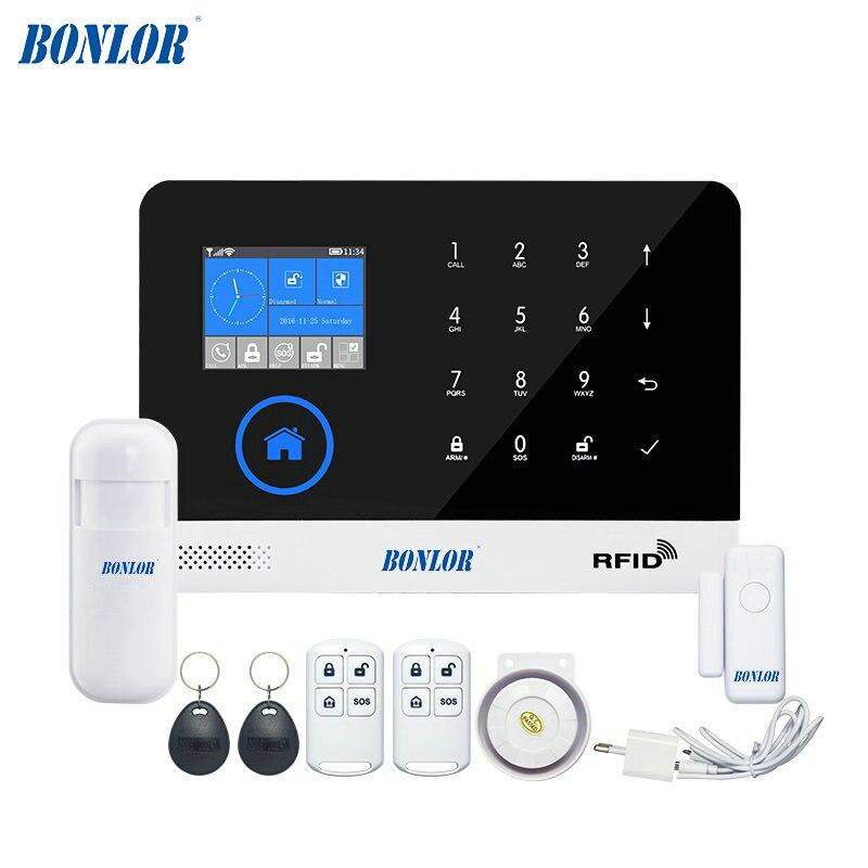 BONLOR NL RU ES PL DE Schakelbare Draadloze Home Security WIFI GSM GPRS alarmsysteem APP Afstandsbediening rfid-kaart Arm Ontw ...