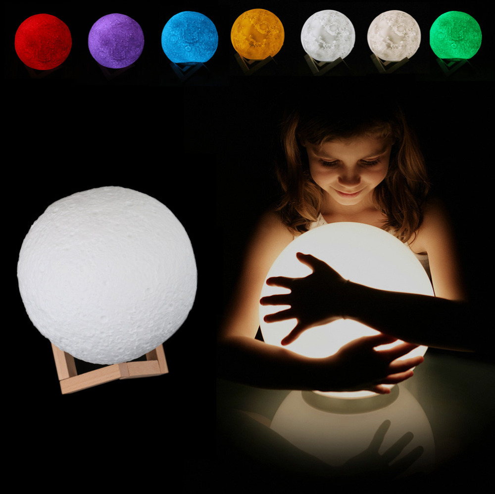 Coquimbo 3D Print Moon Lamp With Remote Control 16 Changeable Color USB Rechargeable Bedroom Decoration Moonlight Night Light personalised photo moon lamp