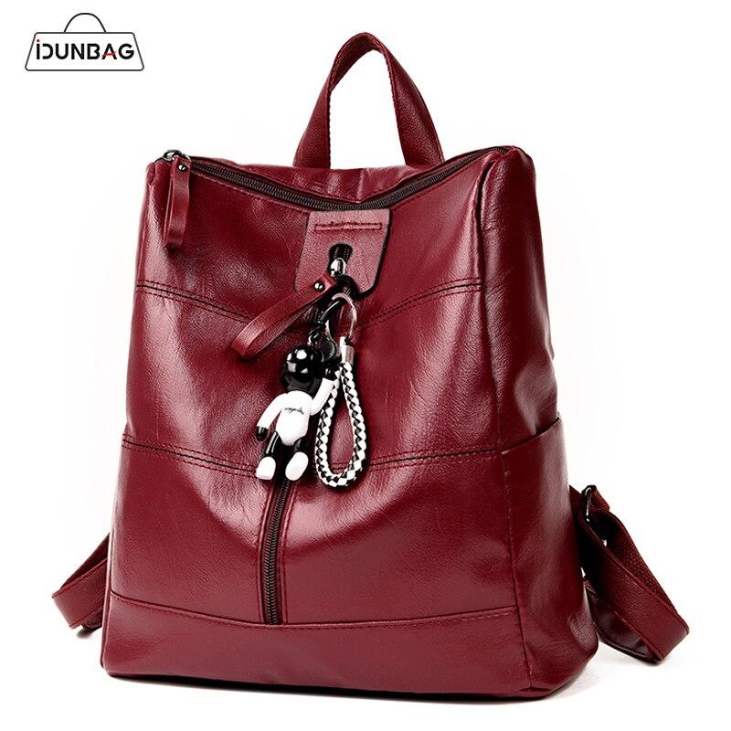 Patchwork Women Backpacks Pu Leather Female Travel Shoulder Bag Women Backpack Large Capacity Bear backbag For Girls With Bear