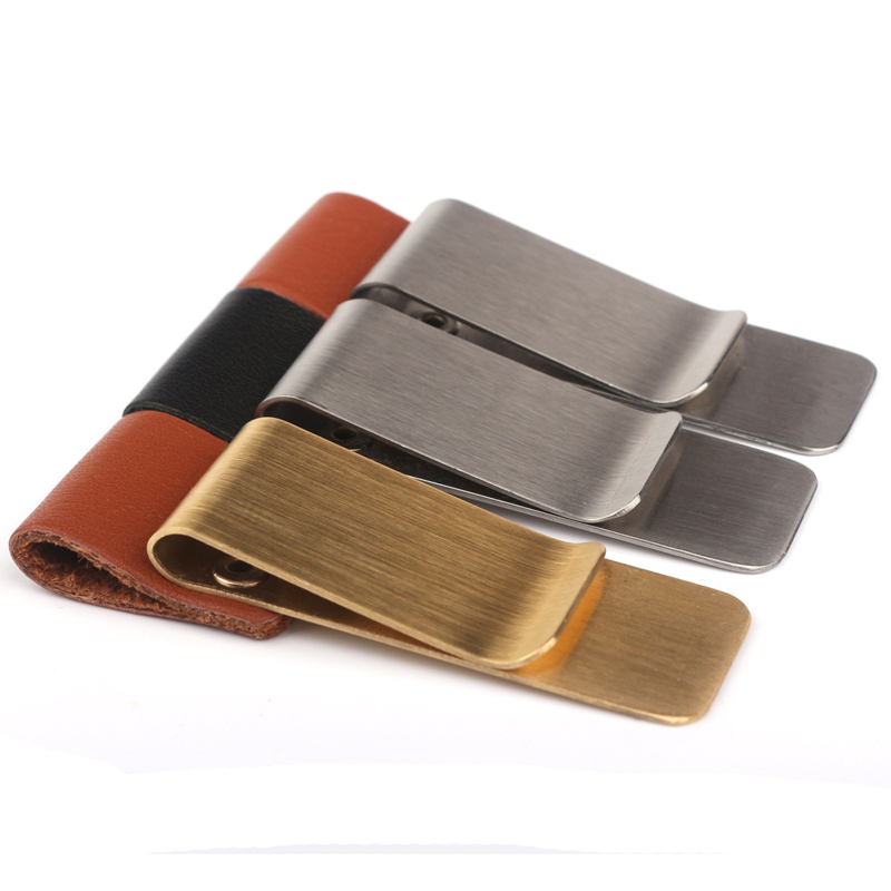 Vintage Leather Metal Pencil Pen Holder Clip Carry Case Bookmark Clips