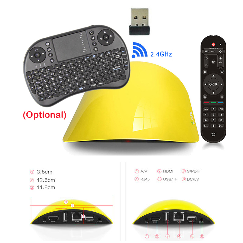 Zidoo X1 II Smart TV BOX 1GB/8GB Rockchip 3229 Android 4.4 Quad Core Bluetooth 4.0 2.4G Wifi Full HD h.265 4K Smart Media Player zidoo x6 pro 4k2k h265 smart android 51