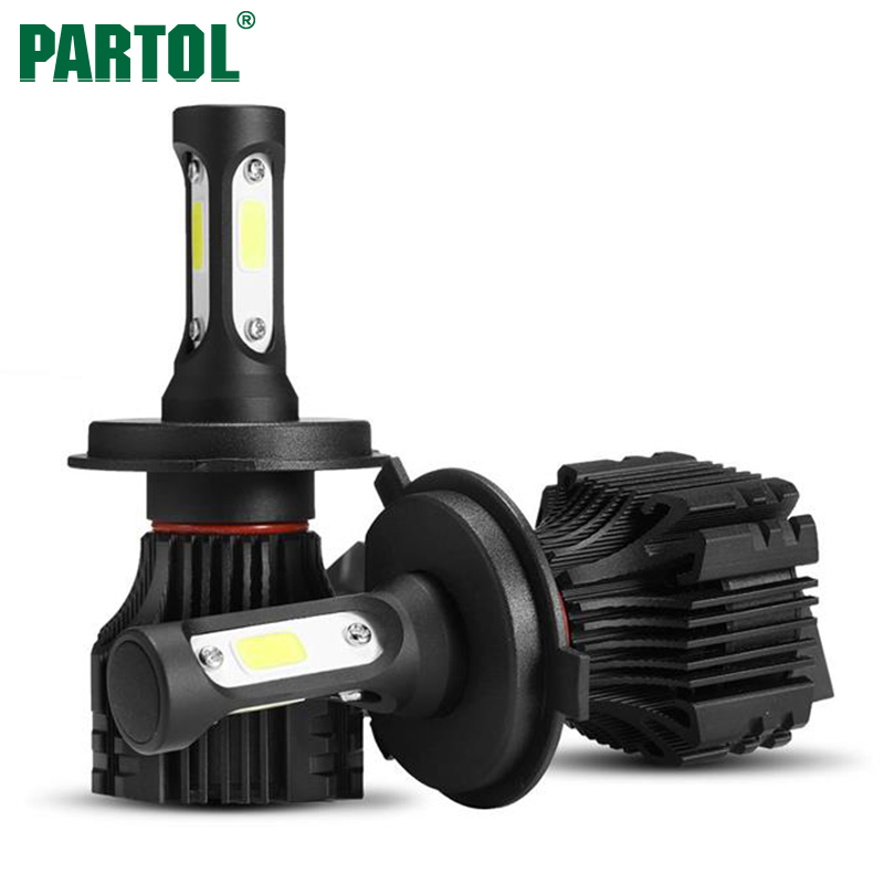 Partol S5 H4 9003 HB2 COB LED Headlight 72W 8000LM All in one Car LED Headlights Bulb High Low Beam Headlamp Fog Light 6500K 12V
