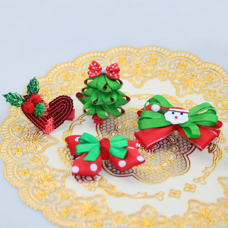 Children's Christmas hair clip,Polka dot ribbed ribbon bow,Hair accessories,Headwear,many style can be choose