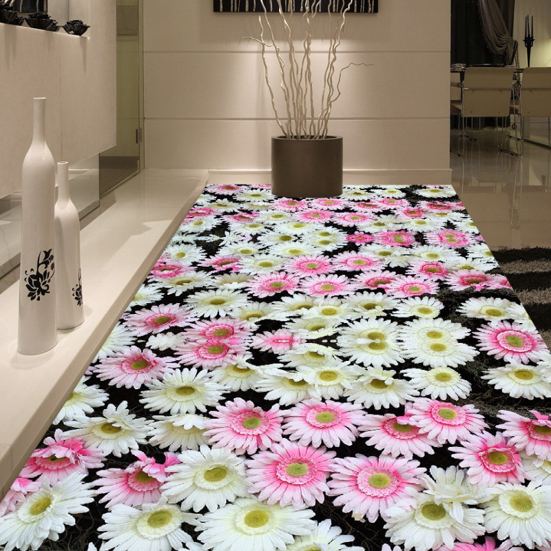 ФОТО Free Shipping 3d flowers floor stereo non-slip wear custom lobby wallpaper saelf-adhesive office decoration mural