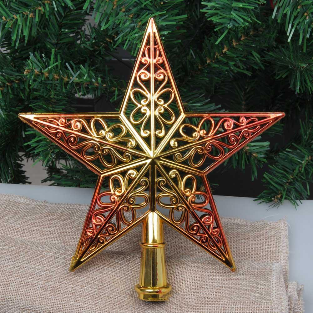 Us 2 53 Beautiful Christmas Tree Topper Gradient Color Plastic Stars Ornament For Xmas Tree Decoration New Year Navidad Party Supplies In Tree