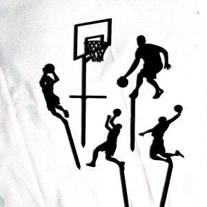 Image 3 - 5 個テーマバスケットボールアクリルケーキトッパーノベルティスラムダンクカップケーキトッパー誕生日スポーツパーティーのケーキの装飾 2019 新