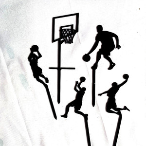 Image 3 - 5pcs נושא כדורסל אקריליק עוגת טופר חידוש סלאם דאנק Cupcake טופר עבור יום הולדת ספורט מסיבת עוגת קישוטי 2019 חדש