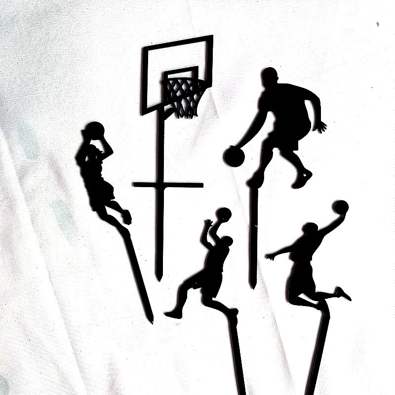 Image 3 - 5pcs Theme Basketball Acrylic Cake Topper Novelty Slam Dunk Cupcake Topper For Birthday Sports Party Cake Decorations 2019 New-in Cake Decorating Supplies from Home & Garden