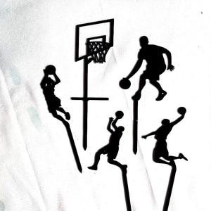 Image 3 - Adorno acrílico para pastel de baloncesto, tema de 5 uds., novedad, Cupcake Slam Dunk, adornos de pastel deportivo para cumpleaños, 2019