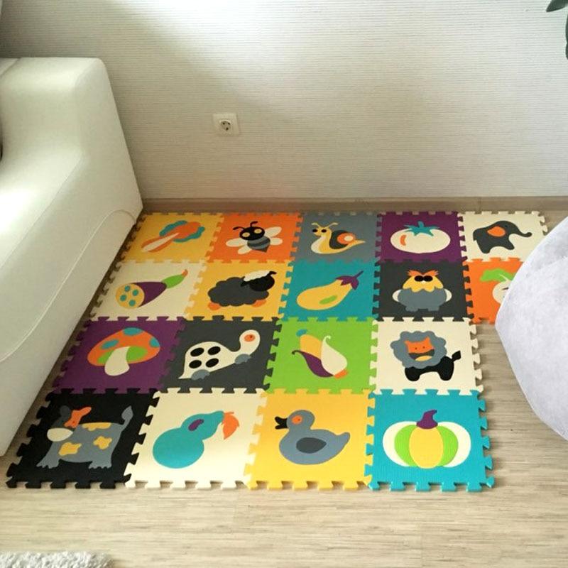 18 pièces tapis Animal de bande dessinée EVA mousse Puzzle tapis enfants Puzzles de sol tapis de jeu pour enfants bébé jouer Gym ramper tapis doux tuiles